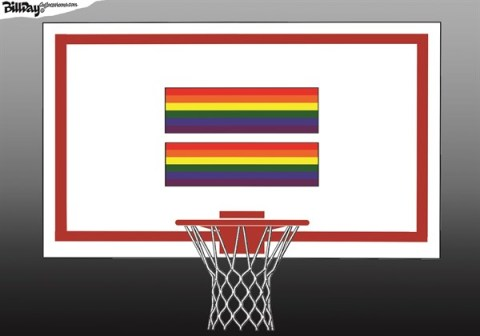 Bill Day - Cagle Cartoons - Full Court  COLOR - English - gays, equality, backboard, Collins