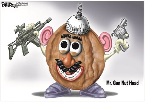 Bill Day - Cagle Cartoons - Mr Gun Nut Head COLOR - English -