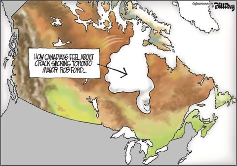 Bill Day - Cagle Cartoons - THUMBS DOWN   color - English - Toronto, Mayor Rob Ford, Canada, crack, map