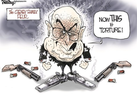 Bill Day - Cagle Cartoons - FAMILY FEUD   color - English - Dick Cheney, Liz Cheney, Mary Cheney, feud