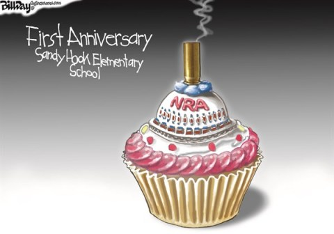 Bill Day - Cagle Cartoons - NRA CANDLE   color - English - Newtown, Sandy Hook, first anniversary, NRA, Cupcake, bullet candle