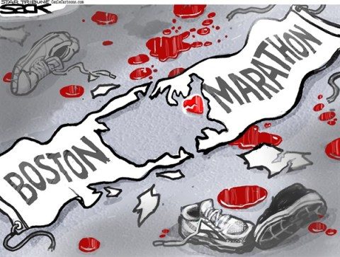 Steve Sack - The Minneapolis Star Tribune - Boston Heartbreak COLOR - English - Boston, marathon, Boston Marathon, terror