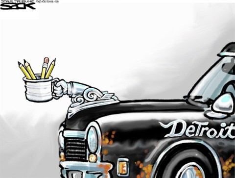 Steve Sack - The Minneapolis Star Tribune - Detroit Doldrums COLOR - English - Detroit, bankrupt