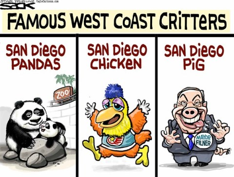 Steve Sack - The Minneapolis Star Tribune - San Diego Zoo COLOR - English - Filner, San Diego, mayor