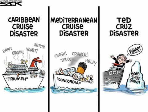 Steve Sack - The Minneapolis Star Tribune - Cruddy Cruisin' COLOR - English - Cruz, shutdown,Congress, filibuster