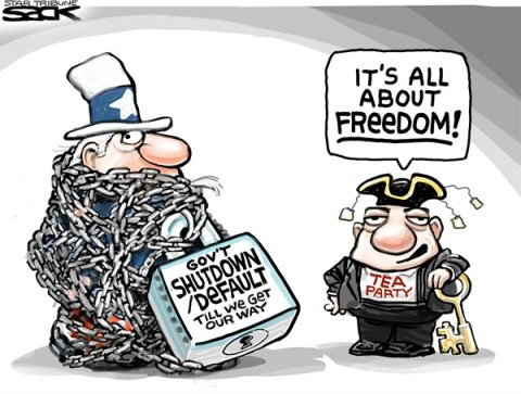Steve Sack - The Minneapolis Star Tribune - Unfree Tea COLOR - English - tea party, shutdown, default
