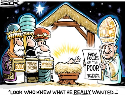 Steve Sack - The Minneapolis Star Tribune - Wise Pope COLOR - English - Pope, Francis, poor