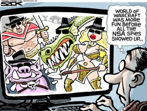 Steve Sack - The Minneapolis Star Tribune - World of Spycraft COLOR - English - NSA, virtual, game, World of Warcraft