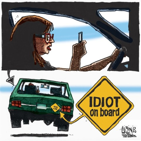 Aislin - The Montreal Gazette - Texting, driving - English - Texting, driving