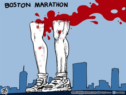 Emad Hajjaj - Jordan - Boston Marathon - English - Boston terror bombing,Marathon terror attack,Sep 11th,Terror,legs,nike boots,blood,twin towers,obama,war on terror,city line,victims,sport,runners,shoes,we stand,USA,emad hajjaj,