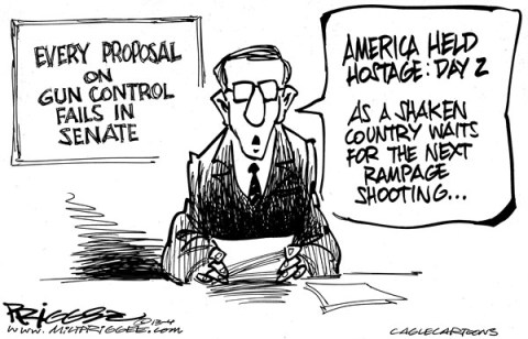 Milt Priggee - www.miltpriggee.com - and he is us - English - gun control, laws, america, hostage, nra, senate, congress