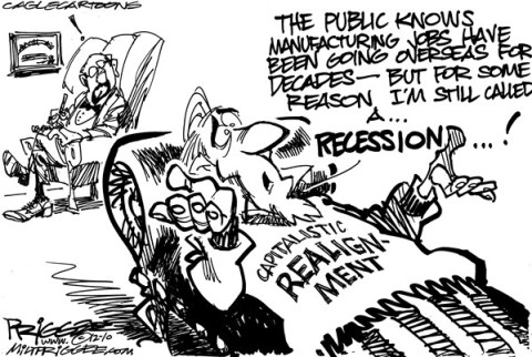 Milt Priggee - www.miltpriggee.com - Economy - English - economy, united states, america, recession, capitalism, realignment, global recession,