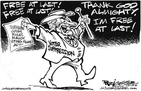 Milt Priggee - www.miltpriggee.com - Voting Rights - English - voting rights, voter suppression, supreme court
