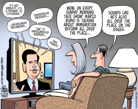Jeff Parker - Florida Today and the Fort Myers News-Press - Rubio And Immigration COLOR - English - Marco Rubio, immigration, reform, bill, amnesty, path, citizenship, conservative, tea party, immigrants, hispanic, votes