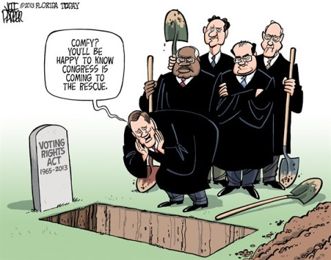 Jeff Parker - Florida Today and the Fort Myers News-Press - SCOTUS Voting Rights Grave COLOR - English - SCOTUS, US Supreme Court, voting, rights, act, civil, rights, race, Jim Crow, states, laws, voter, ID, suppression, Republican, legislatures, gerrymandering, poll, early