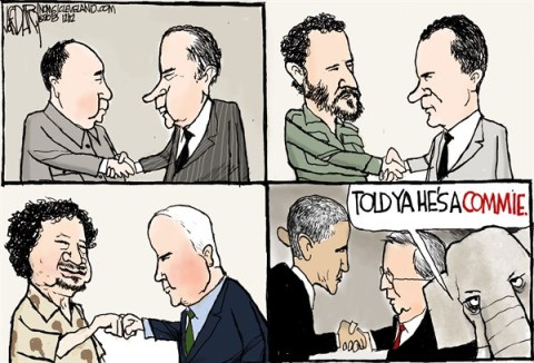 Jeff Darcy - The Cleveland Plain Dealer - Obama-Castro handshake - English - Raul Castro