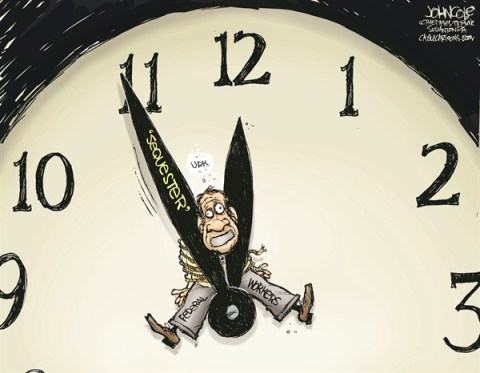 John Cole - The Scranton Times-Tribune - Sequester countdown COLOR - English - sequestration, sequester, federal employees, federal workers, GOP, democrats, spending