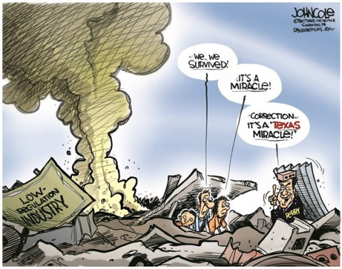 John Cole - The Scranton Times-Tribune - The Texas Miracle COLOR - English - west, texas, fertilizer, rick perry, perry, governor, worker safety, regulations, explosion, GOP