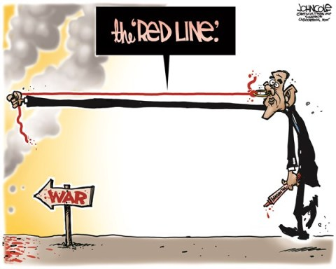 John Cole - The Scranton Times-Tribune - Obama red line COLOR - English - Barack Obama, Syria, red line, military, arab spring, middle east
