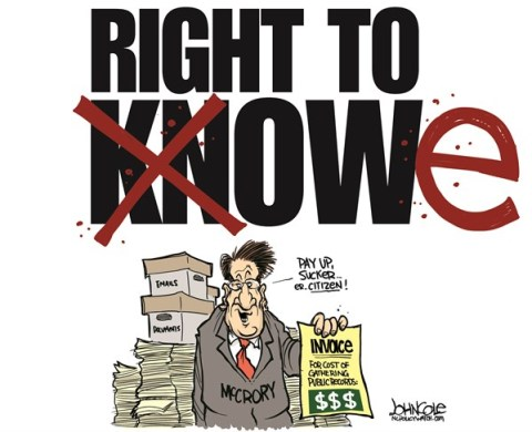 John Cole - ncpolicywatch.com - LOCAL NC -- The Right to Owe COLOR - English - North Carolina, Pat McCrory, GOP, right to know, public records, open government