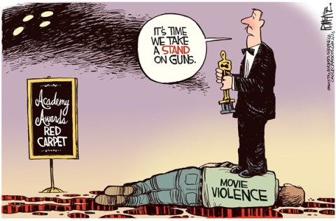 Rick McKee - The Augusta Chronicle - Movie Violence - English - Academy Awards, Oscars, guns, gun, violence, Hollywood, shootings, red carpet