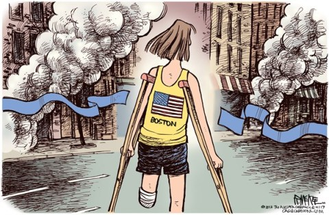 Rick McKee - The Augusta Chronicle - Boston Marathon Bombing COLOR - English - Boston Marathon, bombing, terrorism