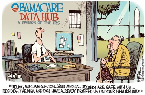 Rick McKee - The Augusta Chronicle - Obamacare Data Hub Color - English - Obamacare, data hub, IRS, NSA, DOJ