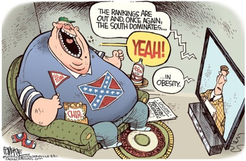Rick McKee - The Augusta Chronicle - Obese South COLOR - English - Obesity, South, College Football