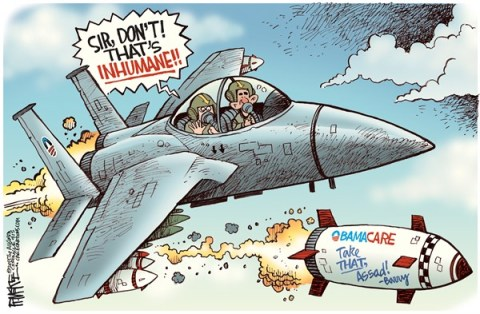 Rick McKee - The Augusta Chronicle - Obama Bombs Syria COLOR - English - Obamacare, Syria