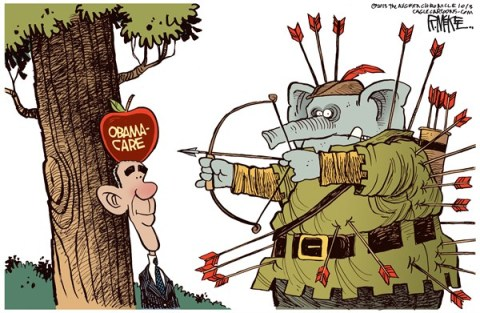 Rick McKee - The Augusta Chronicle - GOP Self-Inflicted Wounds COLOR - English - GOP, Republicans, Obama, Obamacare, shutdown, William Tell