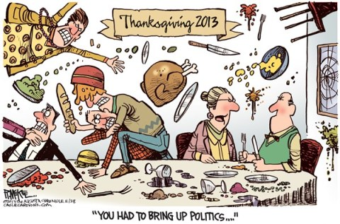 Rick McKee - The Augusta Chronicle - Thanksgiving 2013 COLOR - English - Thanksgiving, politics