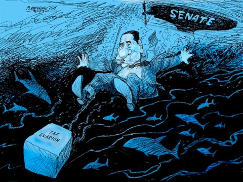 Petar Pismestrovic - Kleine Zeitung, Austria - Disposet of - English - Silvio Berlusconi, Italy, Coruption, Politic, Criminal, Money, Media, Senate