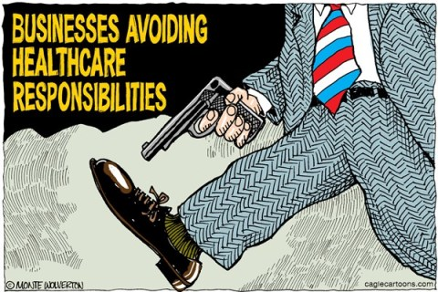 Wolverton - Cagle Cartoons - Businesses Eluding Obamacare COLOR - English - Walmart, Papa Johns, Applebees, Obama, Obamacare, Health, Affordable Care Act, Patient Protection, Health, Health care, Hobby Lobby