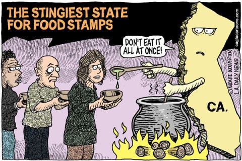 Wolverton - Cagle Cartoons - LOCAL-CA The Worst State for Food Stamps COLOR - English - Food Stamps, Welfare, poverty, poor
