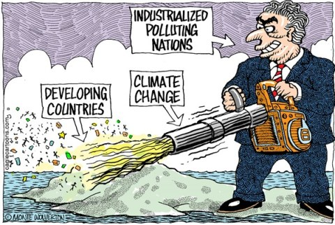 Wolverton - Cagle Cartoons - Climate Change Victims COLOR - English - Climate Change, Global Warming, Philippines, Typhoon, Typhoon Haiyan, Climate Crisis, Pollution