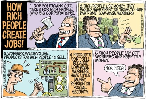 Wolverton - Cagle Cartoons - How Rich People Create Jobs COLOR - English - Jobs, Employment, Job creators, GOP, Wealthy, tax cuts