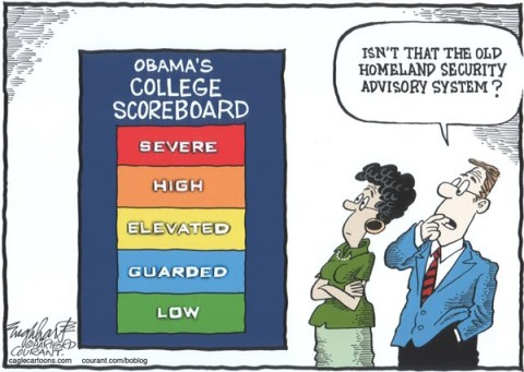Bob Englehart - The Hartford Courant - Obama's College Scoreboard COLOR - English - college,university,higher education,tuition,high college costs,campus,college rankings,college ratings,obama,homeland security advisory system