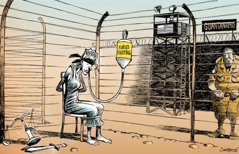Patrick Chappatte - Le Temps, Switzerland - Hunger strikes go on in Guantánamo - English - USA,Military Justice,Prison,Guantanamo,War against terrorism,Human Rights,Food,Torture