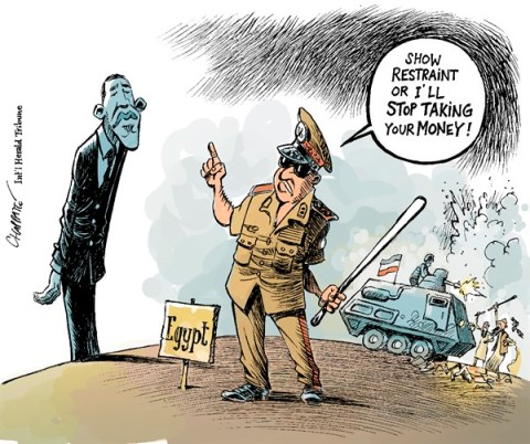 Patrick Chappatte - The International Herald Tribune - U.S. INFLUENCE in EGYPT - English - 		Egypt,USA,Obama,Sissi,Democracy,Muslim Brotherhood,Islam,Power,Demonstrations,Military,Coup