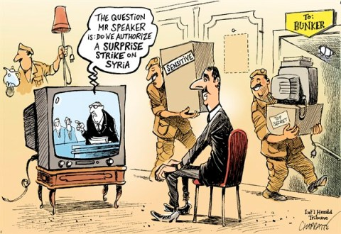 Patrick Chappatte - The International Herald Tribune - US Congress to debate Syria - English - Syria, Assad, Civil War, Revolution, Weapons of mass destruction, USA, US Military, Congress, Capitol, Parliament