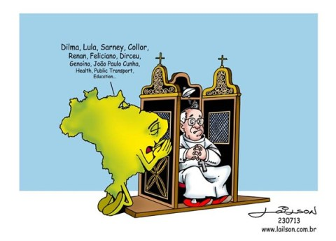Lailson - Humor World - Pope Francis in Brazil - English - 		pope,francis,brazil,corruption,south america,dilma rousseff,lula da silva