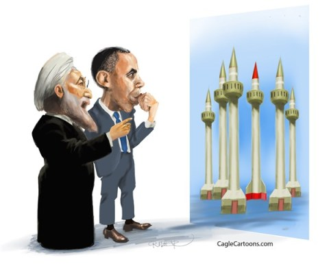 Riber Hansson - Sydsvenskan - Obama and Rohani looking at minarets - English - Obama, Rohani, Iran, UN, Nuclear weapons