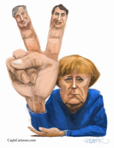 Riber Hansson - Sydsvenskan - Merkel's victory sign - English - Merkel, Germany, Europe