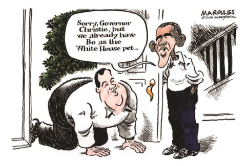 Jimmy Margulies - The Record of Hackensack, NJ - Christie and Obama color - English - Chris Christie, Governor Christie, Superstorm Sandy, President Obama, Blue state Republicans, Republican presidential hopefuls 2016