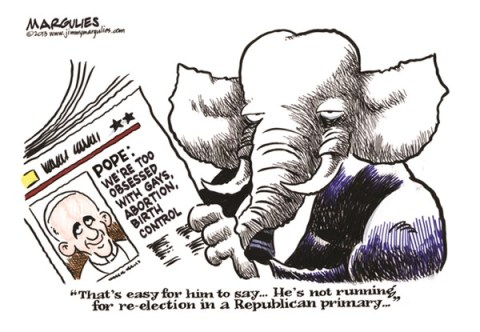 Jimmy Margulies - The Record of Hackensack, NJ - Pope Francis on social issues color - English - Pope Francis, abortion, gays, birth control, Republicans, social conservatives, culture wars