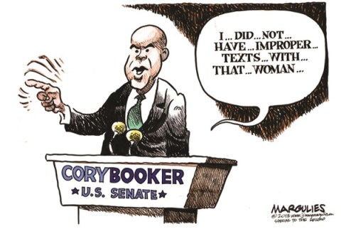 Jimmy Margulies - The Record of Hackensack, NJ - Cory Booker Twitter with stripper color - English - Cory Booker, Cory Booker for US Senate, NJ US Senate race, Cory Booker Twitter, Twitter, Twitter followers of Cory Booker