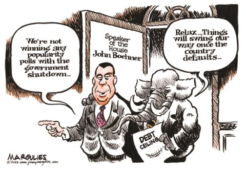 Jimmy Margulies - The Record of Hackensack, NJ - Boehner, Republicans shutdown and default color - English - Boehner, Republicans, Tea Party, Government Shutdown, debt limit, debt ceiling, default, Congress