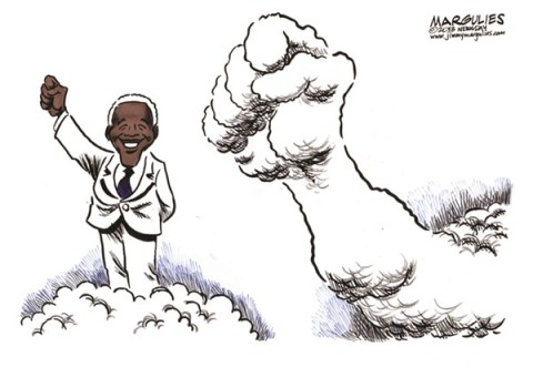 Jimmy Margulies - The Record of Hackensack, NJ - Nelson Mandela color - English - Nelson Mandela, Freedom, Apartheid, South Africa, Liberation,civil rights
