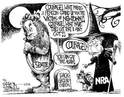 John Darkow - Columbia Daily Tribune, Missouri - The Cowardly Liar - English - Liar, Lie, Senate, Wizard of Oz, Courage, Witch, Newton, Victim, Background, Check, Person, Stand, Coward, Broom, NRA