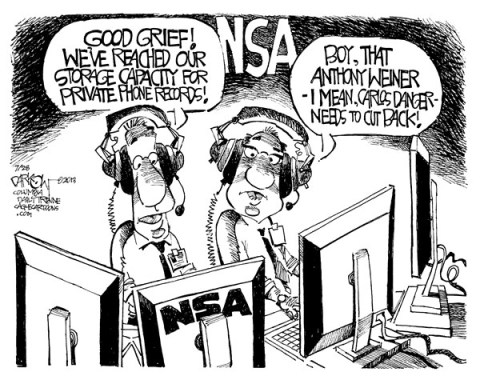 John Darkow - Columbia Daily Tribune, Missouri - Weiner overwhelms NSA - English - Anthony Weiner, Carlos Danger, Phone, Records, NSA, Private, Mayoral Candidate, sexting, scandal, resigned, illicit messages, Christine Quinn